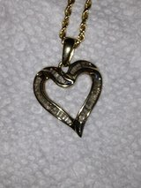Gold Necklace with Heart Shaped DIAMOND Pendant in Camp Lejeune, North Carolina