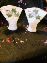 Vintage milk glass vases (2) with hand painted ivy vines and gold trim in Clarksville, Tennessee