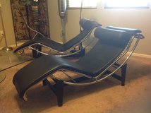 Black leather Le Corbusier chaise in Fairfield, California