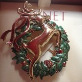 Reindeer Wreath Jeweled Pin by MONET, New-Gift Boxed in Yorkville, Illinois