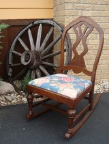 Pre 1950 Vintage Walnut Armless SEWING ROCKING CHAIR Original Wood in Chicago, Illinois