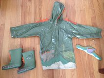 Kidorable Dinosaur Rain Coat (4T) and boots (9) in Bartlett, Illinois